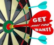 Krijg Wat u het Doel van het Woordendartboard wilt royalty-vrije illustratie