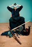 Krijgs de kunstmeester van Japan met zwaardconcept Royalty-vrije Stock Fotografie