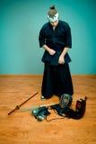 Krijgs de kunstmeester van Japan met zwaardconcept Stock Foto's