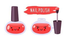 Krijgshaftig rood nagellak met borstel royalty-vrije illustratie