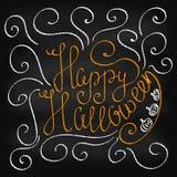 Krijt die Gelukkig Halloween van letters voorzien Stock Fotografie