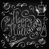 Krijt die Gelukkig Halloween van letters voorzien Royalty-vrije Stock Afbeelding