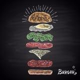 Krijt getrokken gekleurde componenten van hamburger royalty-vrije illustratie