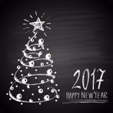 Krijt getrokken illustratie met Kerstboom en tekst Gelukkig Nieuw het Jaarthema van 2017 Royalty-vrije Stock Foto