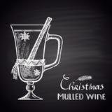 Krijt getrokken illustratie van Kerstmis overwogen wijn Royalty-vrije Stock Foto's