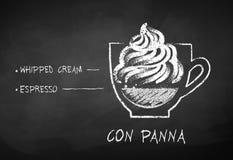 Krijt getrokken schets van Con Panna koffie royalty-vrije illustratie