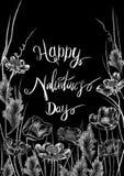 Krijt getrokken stijl witte bloemen, kaders en kalligrafiewoorden op de vlakke zwarte achtergrond stock illustratie