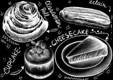 Krijt getrokken stijldesserts, pakket, dranken en kalligrafiewoorden op de vlakke zwarte achtergrond vector illustratie