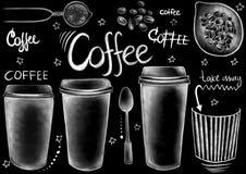 Krijt getrokken stijlvoedsel, pakket, dranken, en kalligrafiewoorden stock illustratie