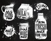 Krijt van de melk het symbolische tekening vector illustratie