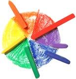 Krijt in vele kleuren Stock Foto's