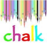 Krijtaffiche, met pastelkleurkleurpotloden dat wordt geschilderd Stock Afbeeldingen
