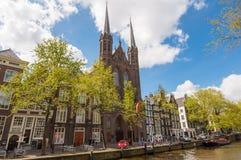 Krijtberg Kerk kyrkafasad i Amsterdam, Nederländerna Arkivfoto