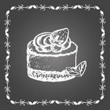 Krijtdessert met aardbei en muntbladeren Stock Afbeelding