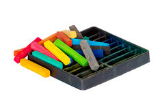 Krijtpastelkleuren die voor Art Drawing Scrapbooking worden geplaatst dat op wit wordt geïsoleerd Stock Afbeelding