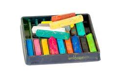 Krijtpastelkleuren die voor Art Drawing Scrapbooking worden geplaatst dat op wit wordt geïsoleerd Stock Fotografie