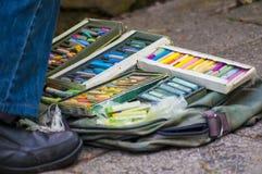 Krijtpotloden, pastelkleuren Royalty-vrije Stock Afbeeldingen