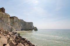 Krijtrotsen op de Kust van Sussex Royalty-vrije Stock Afbeeldingen
