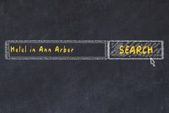Krijtschets van zoekmachine Concept het zoeken van en het boeken van een hotel in Ann Arbor stock illustratie