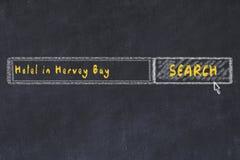 Krijtschets van zoekmachine Concept het zoeken van en het boeken van een hotel in Hervey Bay royalty-vrije stock foto's
