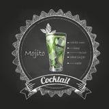 Krijttekeningen cocktail Royalty-vrije Stock Afbeeldingen
