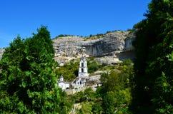 Krim, Bakhchisaray, altes Höhlenkloster des heiligen Annahme Svyato-Uspenskyklosters Lizenzfreie Stockbilder