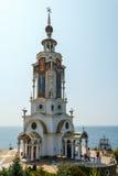 Krim, Malorechenskoye Tempel-Leuchtturm von Sankt Nikolaus das W Lizenzfreie Stockfotografie