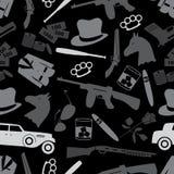 Kriminelle schwarze Symbole der Mafia und nahtloses Muster eps10 der Ikonen Lizenzfreie Stockbilder