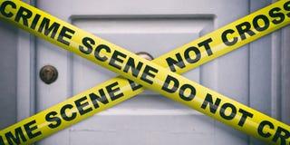 Kriminelle Szene Warnendes gelbes Band, Text kreuzen nicht, Unsch?rfeEinstiegst?rhintergrund Abbildung 3D stock abbildung
