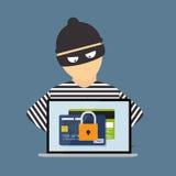 Krimineller Hacker, Konzept des Betrugs, Cyber-Verbrechen Vektor illustrat Lizenzfreie Stockbilder