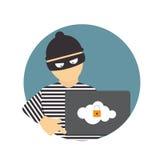 Krimineller Hacker, Konzept des Betrugs, Cyber-Verbrechen Vektor illustrat Lizenzfreie Stockfotos