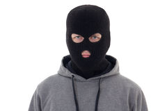Krimineller Mann in der schwarzen Maske lokalisiert auf Weiß stockfotos