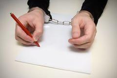 Kriminelles Geständnis. Stockfotografie