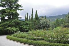Krimlandschaft (Nikita Botanical Garden) Stockfotografie