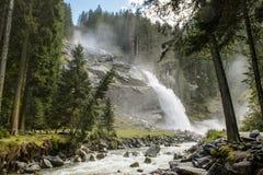 Krimml瀑布在奥地利 库存照片