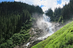 Krimml waterfalls in high tauern mountain range national park a Royalty Free Stock Photo