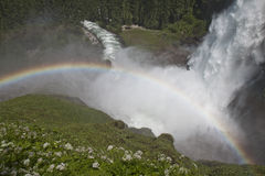 Krimmler Falls, Ache and rainbow, Austria Royalty Free Stock Photography