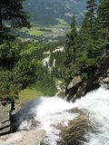 Krimmler Waterfalls. The faimous watterfall in Austria, near Mittersil, has almost 380 meters height (it drops in 3 stages). The view from the top it`s Stock Photo