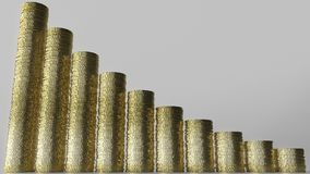 Krimpend grafiek van muntstukstapels die wordt gemaakt Bedrijfsdaling of het dalende besparingen 3D teruggeven Stock Foto's