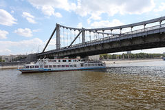 Krimskiy bridge through Moscow river Royalty Free Stock Images