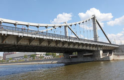 Krimskiy bridge through Moscow river Stock Images