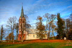 Krimulda evangelikal Lutherankyrka Arkivfoton