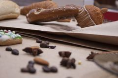 Kringla för kaka för närbild för brunt för brödmatbageri Royaltyfria Foton