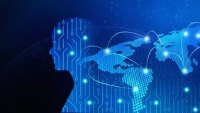 Kringsraad in mensenvorm met wereldkaart High-tech technologie Stock Afbeelding