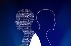 Kringsraad in mensenvorm op blauw High-tech technologie Royalty-vrije Stock Fotografie