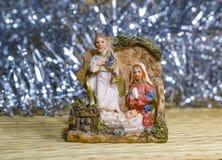 Krippe Jesus Christ, Mary und Josef Stockbild