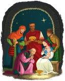 Krippe mit Jesus, Mary, Joseph und drei Königen - weise Männer Christian Christmas-Illustration stock abbildung