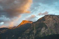 Krippenstein mountain peak in sunset rays, Austria Stock Photos