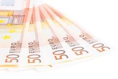 Kris av eurozonen, 50 eurosedlar Royaltyfri Fotografi