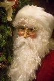 Kris Kringle Portrait. Portrait of a decorative Santa Claus mannquin beside a Christmas tree stock photos